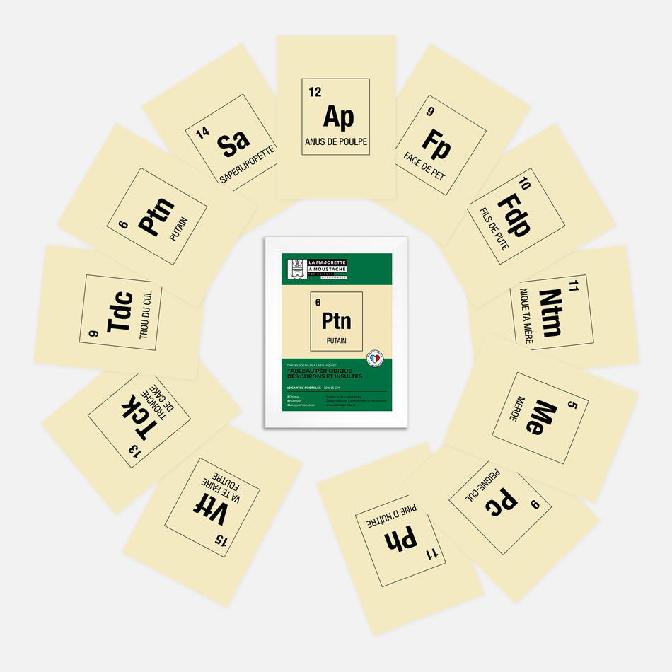 Etui 12 cartes postales - Tableau périodique des jurons et insultes
