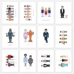 Etui 12 cartes postales - Vestiaire des films comiques