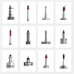 Etui 12 cartes postales - Les phares de france