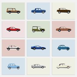 Etui 12 cartes postales - Collection des voitures mythiques